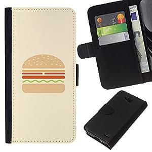 WINCASE Cuadro Funda Voltear Cuero Ranura Tarjetas TPU Carcasas Protectora Cover Case Para LG OPTIMUS L90 - hamburguesa hamburguesa minimalista de comida rápida