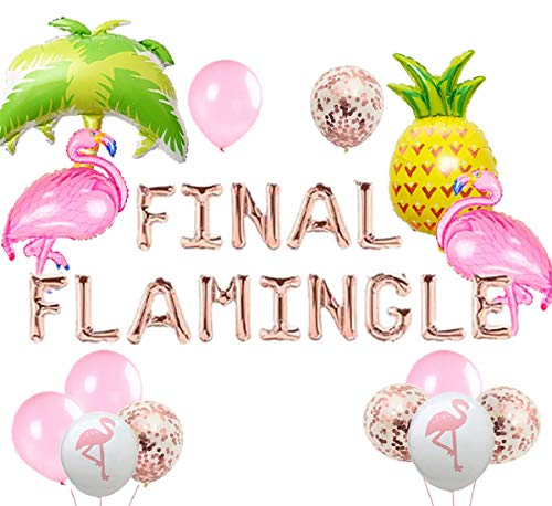 JeVenis Set of 20 Rose Gold Final Flamingle Balloons Flamingo Bach Balloons Flamingo Bachelorette Party Decor Flamingo Bach Balloon Banner Flamingle Bach Decorations ()