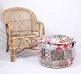NANDNANDINI - Beautiful Christmas Decorative Bohemian Ottoman Patchwork Ottoman Indian Embroidered Indian Vintage Cotton Round Pouf Foot Stool , Vintage Patch Work Ottoman