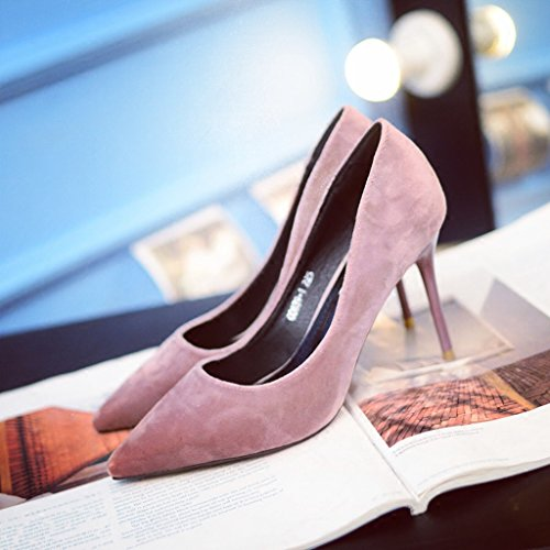 9cm Pink Comfortable High Pointed Work Shoes Mouth Shallow 36 Toe Heels Size Elegant Pink Shoes Suede Feminine Wedding Sexy Color Shoes PqS4Axn6