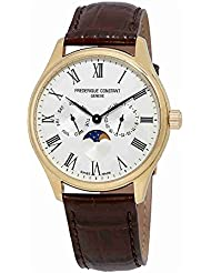 Frederique Constant Mens Silver Dial Yellow Gold Leather Band Watch FC260WR5B5