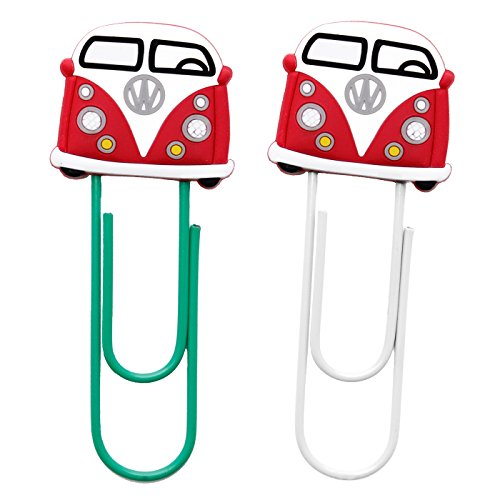 diyjewelrydepot-2-pcs-vw-volkswagen-caravan-large-clip-pvc-bookmark-paper-clips-bookmarks