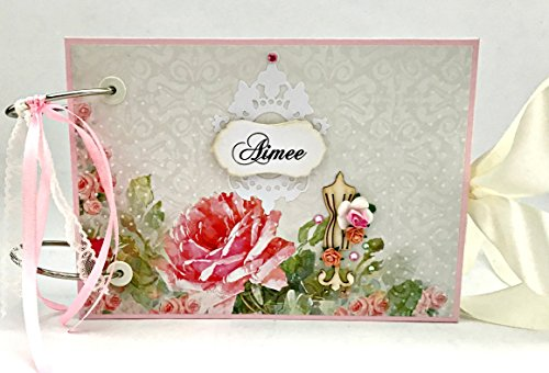 Kristabella Creations Personalized Bridal Shower Scrapbook Album, Hen Party Memory Book, Bachelorette Album, size 5.8 x 8.3 inches, metal rings binding, 20 pages, Interactive, Fully decorated