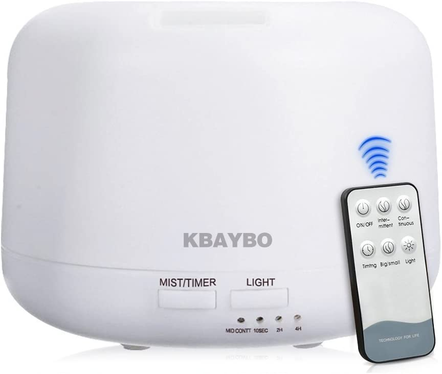 KBAYBO Remote Control 300ML Ultrasonic Air Aroma Humidifier With 7 Color Lights Electric Aromatherapy Essential Oil Aroma Diffuser (With Remote