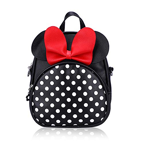 Kids Black Crossbody Purse Mini Cute Minnie Mouse Backpacks Purse for Toddlers Daypack Little Girls Small Leather Wallet