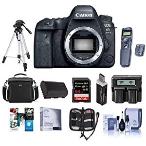 Canon EOS 6D Mark II DSLR Body - Bundle with 64GB SDHC U3 Card, Camera Case, Screen Protector, Tripod, Spare Battery, Dual Charger, Cleaning Kit, Memory Wallet, Software Package, Remote and More