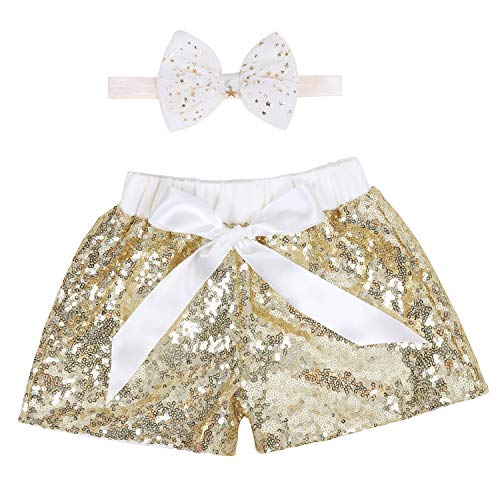 Baby Girls Shorts Kids Sparkle Toddler Sequin Shorts Glitter on Both Sides Birthday Outfits Headband Gold Ivory 2T (Glitter Head Bows)