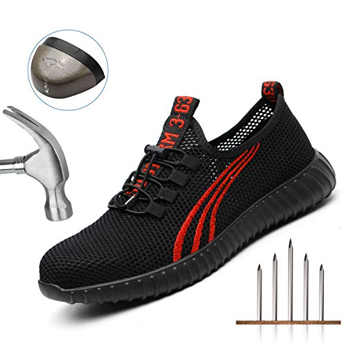 Safety Shoes for Men, Work Construction Sneakers, Breathable Lightweight Comfortable Steel Toe Shoes for Women, 566 Red 43