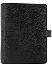Filofax 2021 Finsbury Black - Pocket, Traditional Grained Leather, 6 Rings, Includes Week On 2 Pages Calendar Diary, Multilingual (C025360-21)