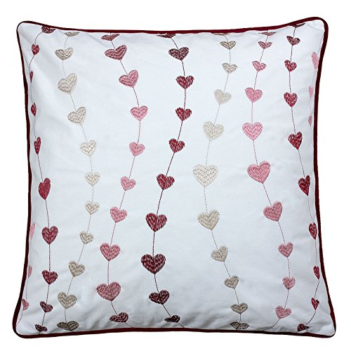 Homey Cozy Valentine's Day Embroidery White Velvet Throw Pillow Cover,Fall in Love Heart with Red Piping Fuzzy Cozy Home Decoration Gift Idea 20 x 20,Cover Only (20 Heart)