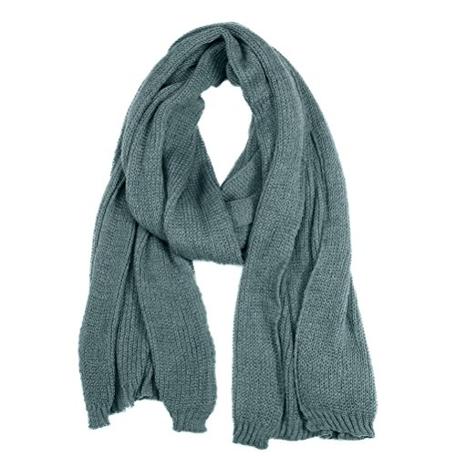 Winter Fashion Thick Knitted Scarf ,RiscaWin Thick Cable Knit Wrap Chunky Warm Pure Color Long Scarf(Grey)