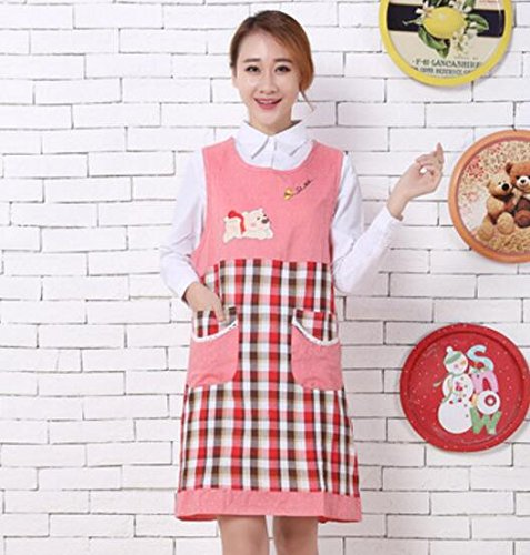 Goodscene Creative Apron Fashion Bear Printed Apron- Home Sleeveless Lattice Apron (Red) by Goodscene
