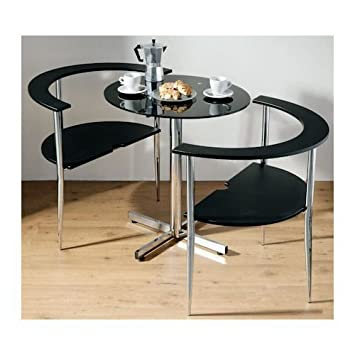 Love Table And 2 Chairs Contemporary Black Dining Set Amazonco