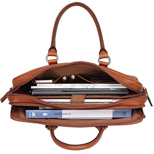 Banuce Vintage Leather Tote Briefcase for Men Business Messenger 14 inch Laptop Bag by Banuce (Image #6)