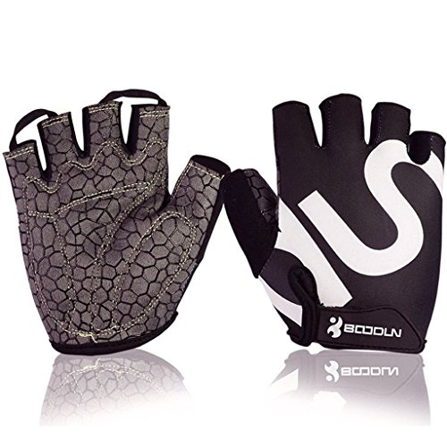 (BOODUN Unisex Cycling Gloves, Black & White, X-Large)