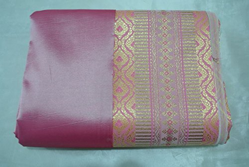 Thai JEEB NA NANG Carnation Pink Synthetic Silk Fabric for Top Skirt dress SE321