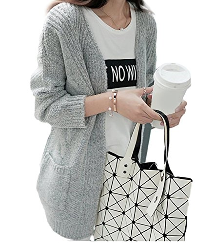 (エスティーリーフ)Esty leaf レディース ニット カーディガン ケーブル編み ゆったり 体系カバー 長袖 大きいサイズ フリーサイズ