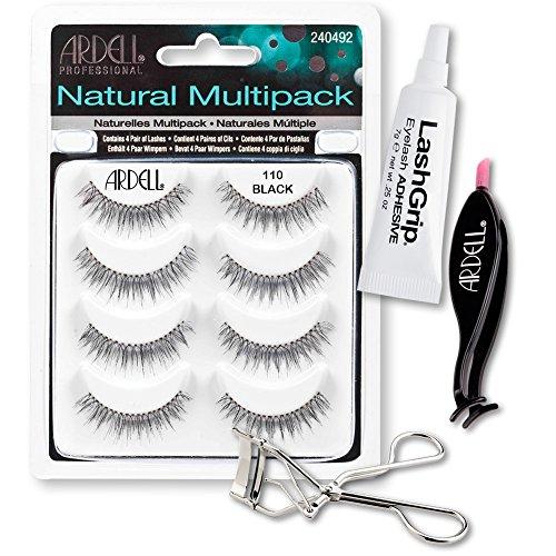 Ardell Fake Eyelashes 110 Value Pack - Natural Multipack 110 (Black), LashGrip Strip Adhesive, Dual Lash Applicator, Cameo Eyelash Curler - Everything You Need For Perfect False Eyelashes