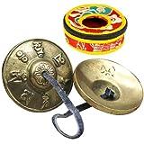 Twinkle goods (ツインクルグッズ) ティンシャ ベル チベットベル チベット 仏教 ハンドベル 打楽器 ヨガ 風水 鐘 鈴 透き通る音色 瞑想 ヒーリング 不安 ストレス解消 集中力アップ 専用保護ケース 付き 六字真言 黄銅