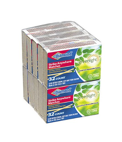 24Packs of 10Packs of 32ct Diamond Green Light Penny Matches