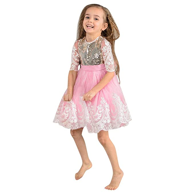 bf9f5c41dc3 Tronet Toddler Kids Baby Girl Lace Sequins Tulle Party Pageant Wedding  Princess Dresses Pink