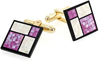 product image for JJ Weston Lavender and Pearlescent Mother of Pearl Cufflinks. Made in the USA.