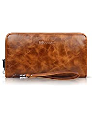 Passport Leather Wallet Icarer Checkbook Holder Zipper Chain Classic Purse