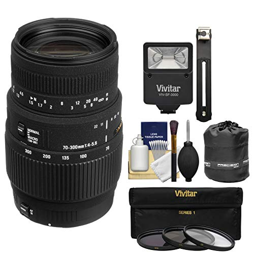 Sigma 70-300mm f/4-5.6 APO DG Motorized Macro Zoom Lens with Flash + Pouch + 3 Filters Kit for Nikon Digital SLR Cameras
