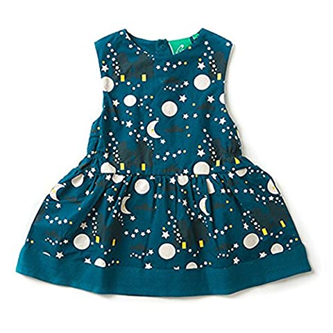 Casual Summer Cotton Dress for Little Toddler Girls, Turquoise Teal (Size Age 2t-3t, Moon & Stars)