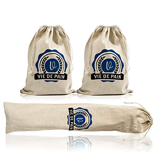 3 Pack- 100% Natural Flax Linen Bread Bags for Homemade Artisan Bread & Reusable Food Storage, Large Loaf and Baguette Size (2-11x15 in, 1-28x6 in) ()