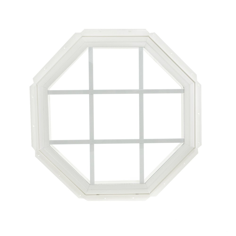 Park Ridge Vinyl Octagon Fixed Window with Insulated Clear Glass & Grids, 22'' x 22''