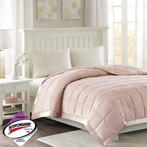 Madison Park Windom Microfiber Down Alternative Stain Resistant Blanket, King, Blush