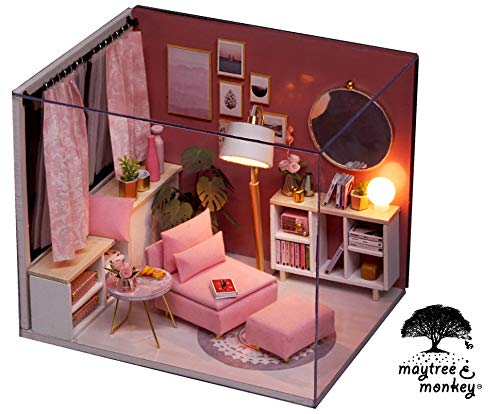 Maytree & Monkey Miniature Dollhouse Kit Living Room Furniture with LED Light and Dust Cover 1:12 DIY Gift for Adults and Kids Different Accessories Cake Bakery Ladder Office Rocking Adirondack Chair (1 Kits 12 Dollhouse)