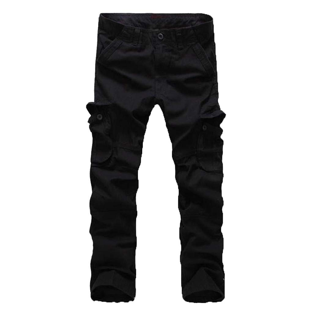 Allywit Men's Assault Tactical Pants Lightweight Cotton Outdoor Military Combat Cargo Trousers Big and Tall Black