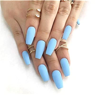 Cathercing 24 Pcs Ballerina Pure Color Matte Coffin Nails Short False Nails Fake Gel Nails Tips Art for Women Teen Girls Gift (Blue) : Beauty