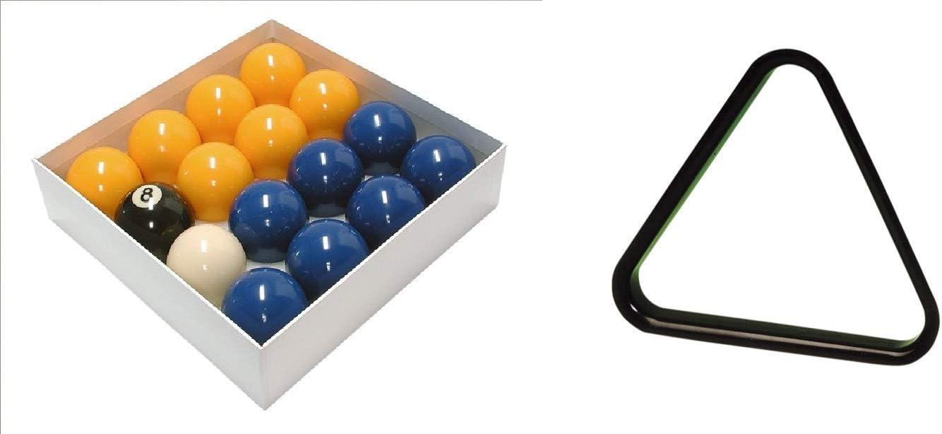 E-Service Bolas de Billar estándar Azul y Amarillo de 2 Pulgadas (16 Piezas) 1 7/8 Pulgadas Bola de Taco y triángulo: Amazon.es: Deportes y aire libre