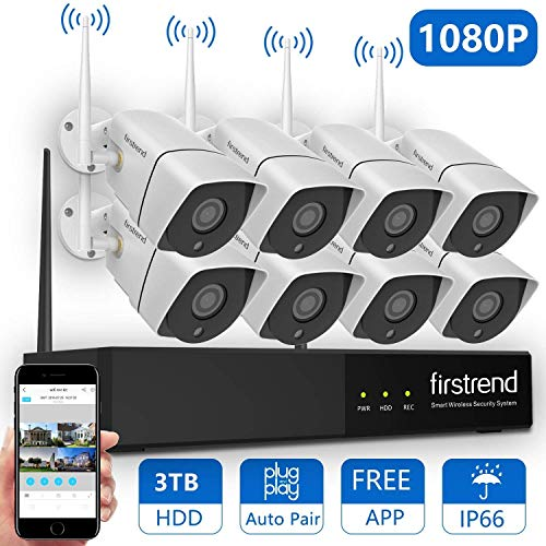 Wireless Security Camera System,Firstrend 8CH 1080P Wireless NVR System with 8PCS 1080P HD IP Security Camera with 65FT Night Vision Easy Remote View P2P CCTV System 3TB Hard Drive Installed