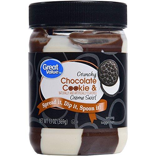 Great Value Crunchy Chocolate Cookie & Creme Swirl, 13 oz Jar