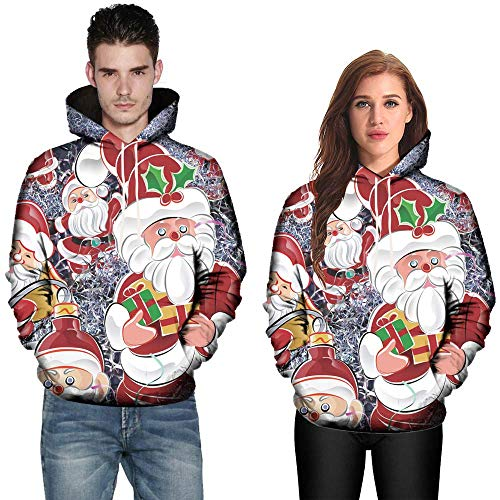 Kehome Holiday Couple Outfit 3D Print Pullover Sweatshirt Christmas Shirt Hoodie Men Women Sweater Hooded Jacket Pocket Multi Color X-Large (US:10) for $<!--$10.59-->