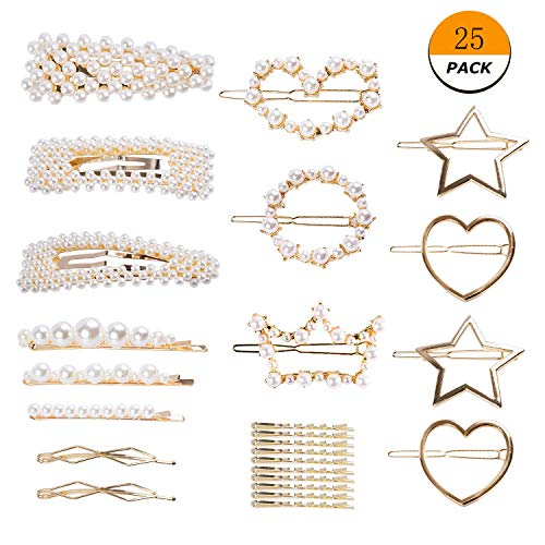 (25 Pieces Artificial Pearl Hair Clip Hair Barrettes Pearl Decorative Bridal Hair Clips Handmade Hair Accessories for Women and Girls Wedding Party Supplies)