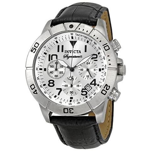 Invicta Men's 7283 Signature Chronograph Silver Dial Black Leather Watch (Invicta Watch Black Leather)