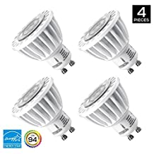 Hyperikon MR16 GU10, LED 7W (50W equivalent), 460 lumen, 5000K (Crystal White Glow), CRI 90+, 120 Volt, 40° Beam Angle, Dimmable, UL-listed and ENERGY STAR Qualified - (Pack of 4)