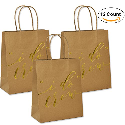 12 I Do Crew Kraft Paper Gift Bags for Wedding Bridesmaid Bridal Shower Bachelorette (Gifts For Bridal Shower)