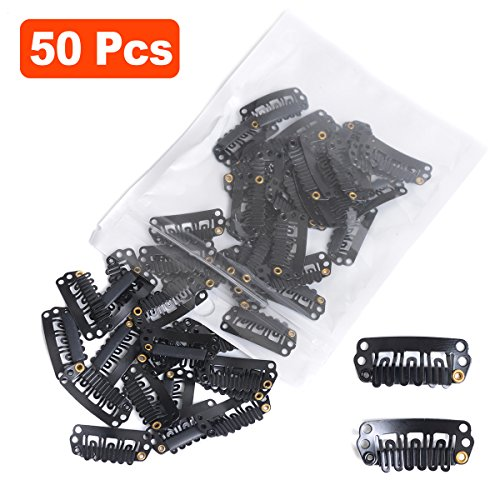 Snap Clips for Hair Extensions Weaves 50pcs U-shape Metallic Wig Clips With Silicon Rubber Small Size Black by BEAUTY PLUS