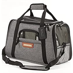 Pawfect Pets Pet Travel Carrier, Soft-Sided with Two Pet Mats for Small Dogs and Cats (Grey)