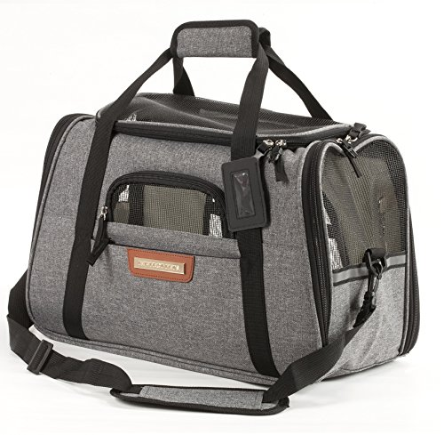 - Pawfect Pets Airline Approved Pet Carrier Soft-Sided Cat Carrier and Dog Carrier for Cats and Extra Small Dogs, Fits Underneath Airplane Seat. Comes with Two Fleece Pet Mats. (Slate Grey)
