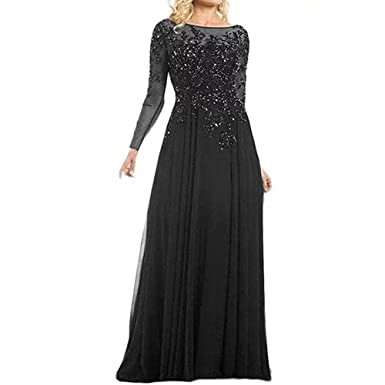 Meilishuo Womens Long Sleeves Mother The Bride Dresses Beaded Formal Evening Gowns