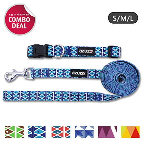 18' Nylon Collar - AZUZA Dog Collar & Leash + Combo Set + Nylon Heat Transfer Printing for Extra Soft & Comfortable + Sturdy D-ring + Distinct Nordic Design + Easy Adjustable Size for All Types of Dogs + Blue + L