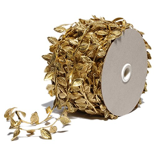 Gold Leaves Leaf Ribbon Trim Rope - 20 Yards - for Garland DIY Crafts and Party Wedding Home Decorations (Gold) ()
