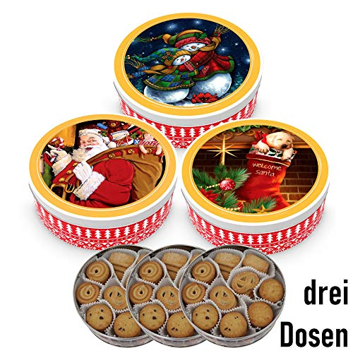 Becky´s Danish Butter Cookies/Danish Butter Biscuits – Pastries in Christmas Tin – 454 g, 3 x 454 g Dose